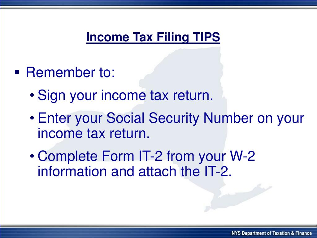 income tax filing instructions